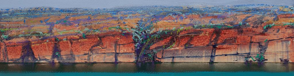 """Berkeley River Study 6"" 12 x 47cm Mixed Media on Paper"
