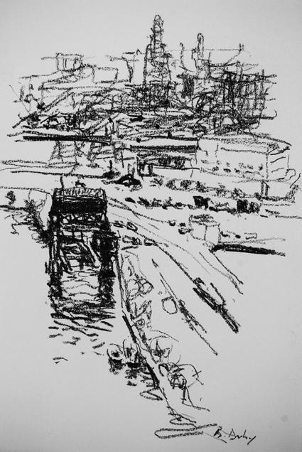 """Brooklyn Docks"" 30 x 21cm Charcoal on Paper"