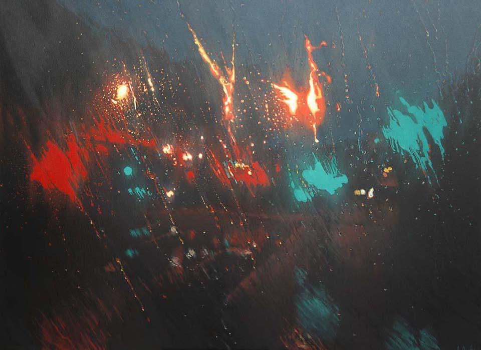 """Fireworks on Barrack Street"" 110 x 150cm Oil on Canvas"