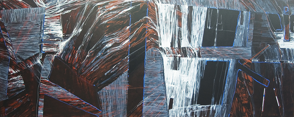 """""""Fracture Red"""" 120 x 300cm Acrylic on Canvas"""