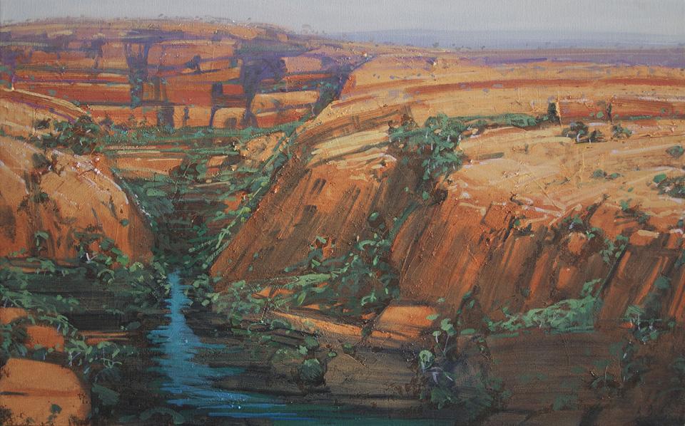 """""""Hidden Gorge 1"""" 51 x 82cm Oil on Acrylic on Canvas"""