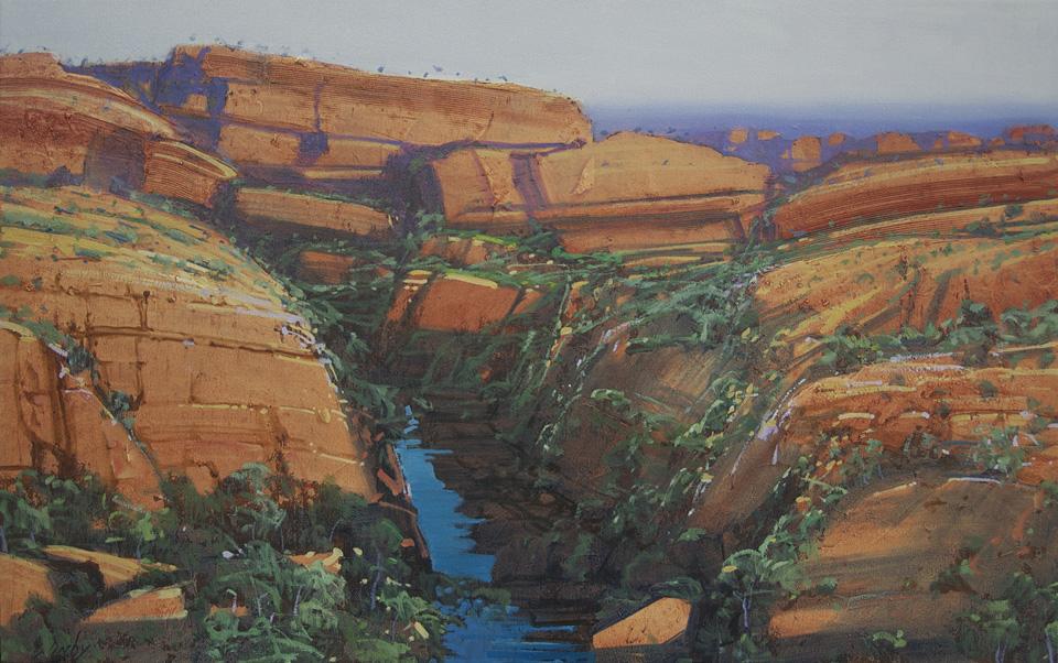 """""""Hidden Gorge 2"""" 51 x 82cm Oil on Acrylic on Canvas"""