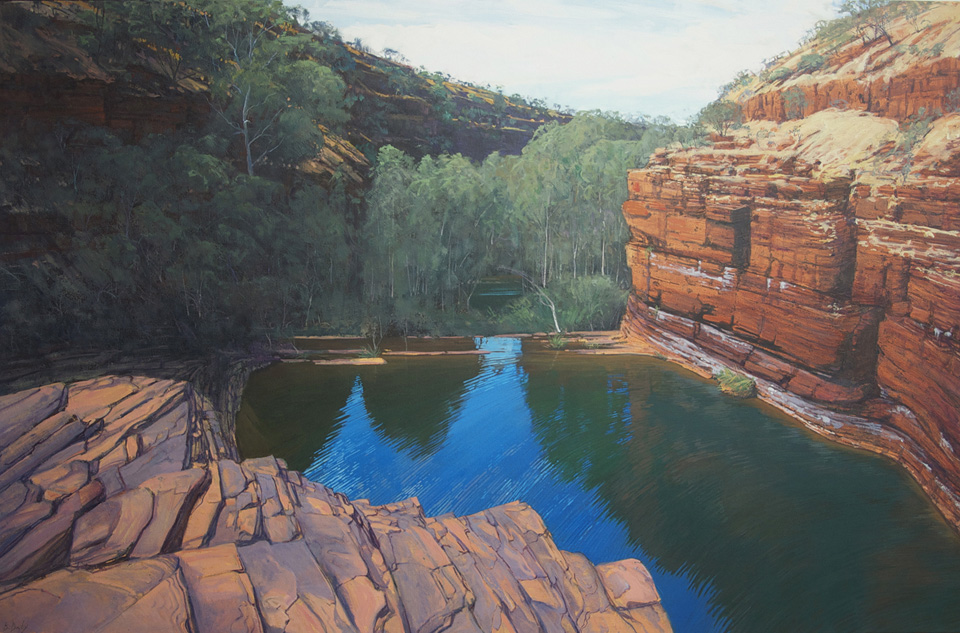 """""""Into Dales Gorge"""" 135 x 210cm Oil on Acrylic on Canvas"""