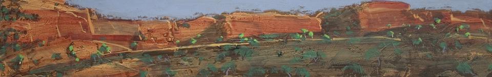 """Karijini 14 - Panel 7"" 10 x 61cm Oil on Acrylic on Board"