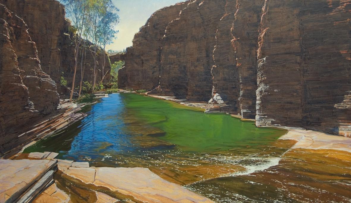 """Kalamina Green"" 165 x 95cm Oil on Acrylic on Canvas"