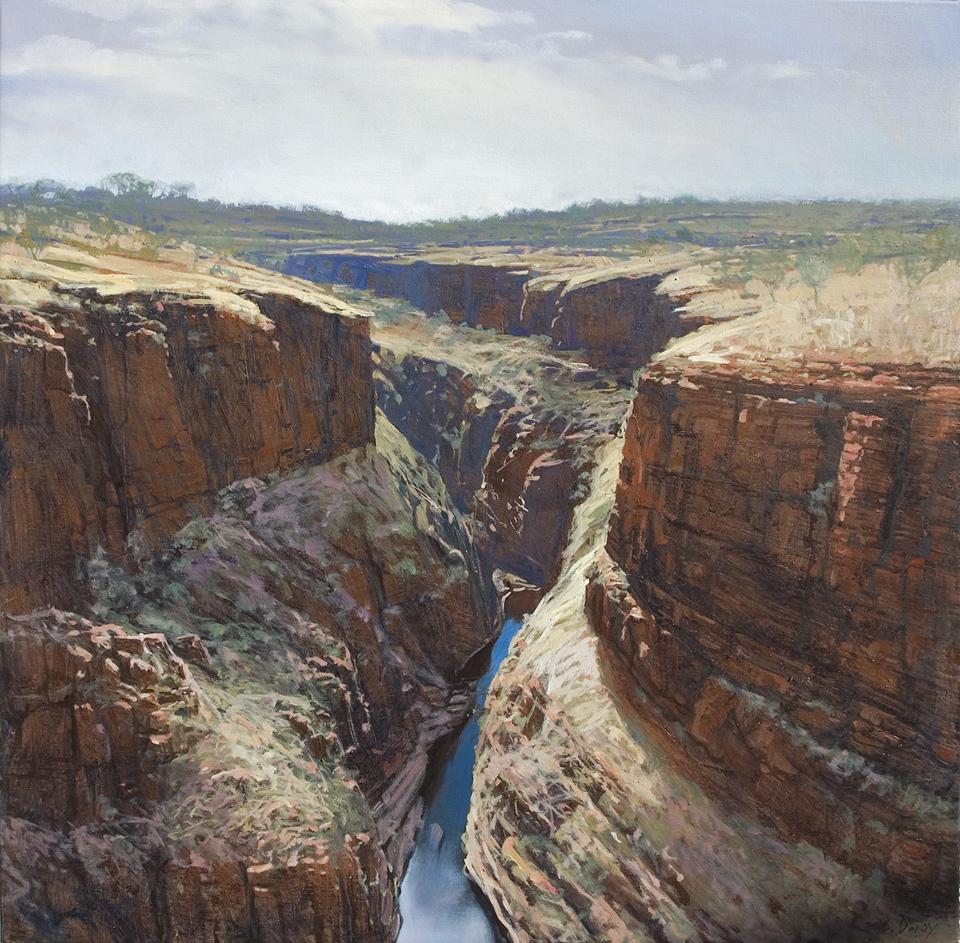"""""""Knox Gorge"""" 91 x 91cm Oil on Acrylic on Canvas"""