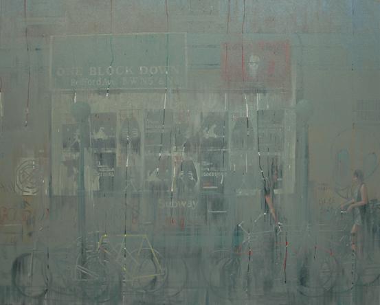 """""""L Train"""" 120 x 150cm Oil on Acrylic on Canvas"""