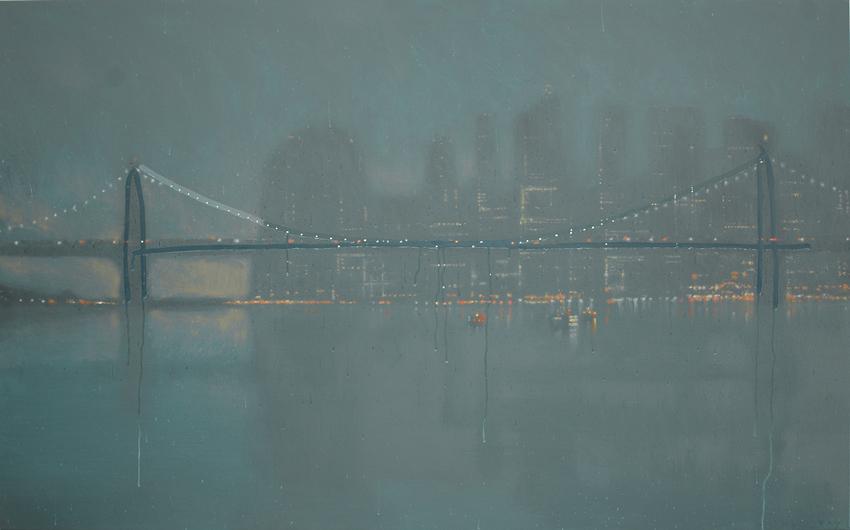 """Manhattan Bridge Dusk"" 130 x 210cm Oil on Canvas"