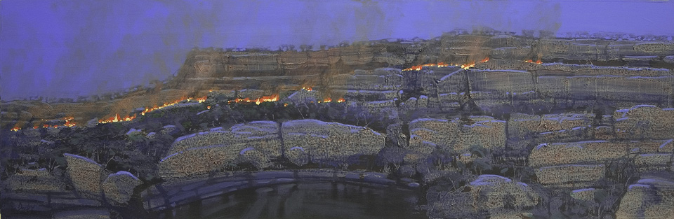 """""""Night Fire 1"""" 31 x 98cm Mixed Media on Paper"""