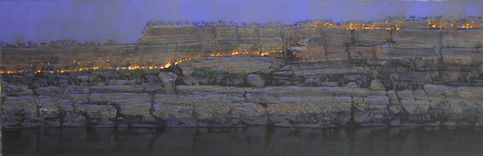 """""""Night Fire 2"""" 31 x 98cm Mixed Media on Paper"""