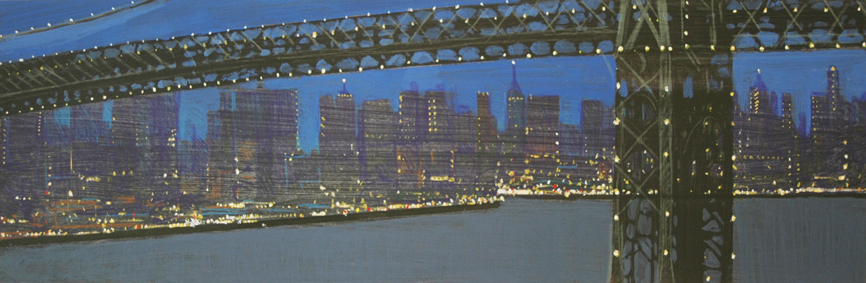 """Night Bridge (Study)"" 45 x 140cm Mixed Media on Paper"