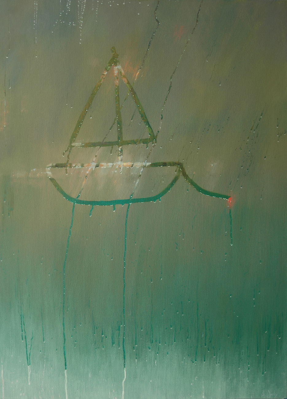 """""""Red Buoy"""" 110 x 80cm Oil on Canvas"""