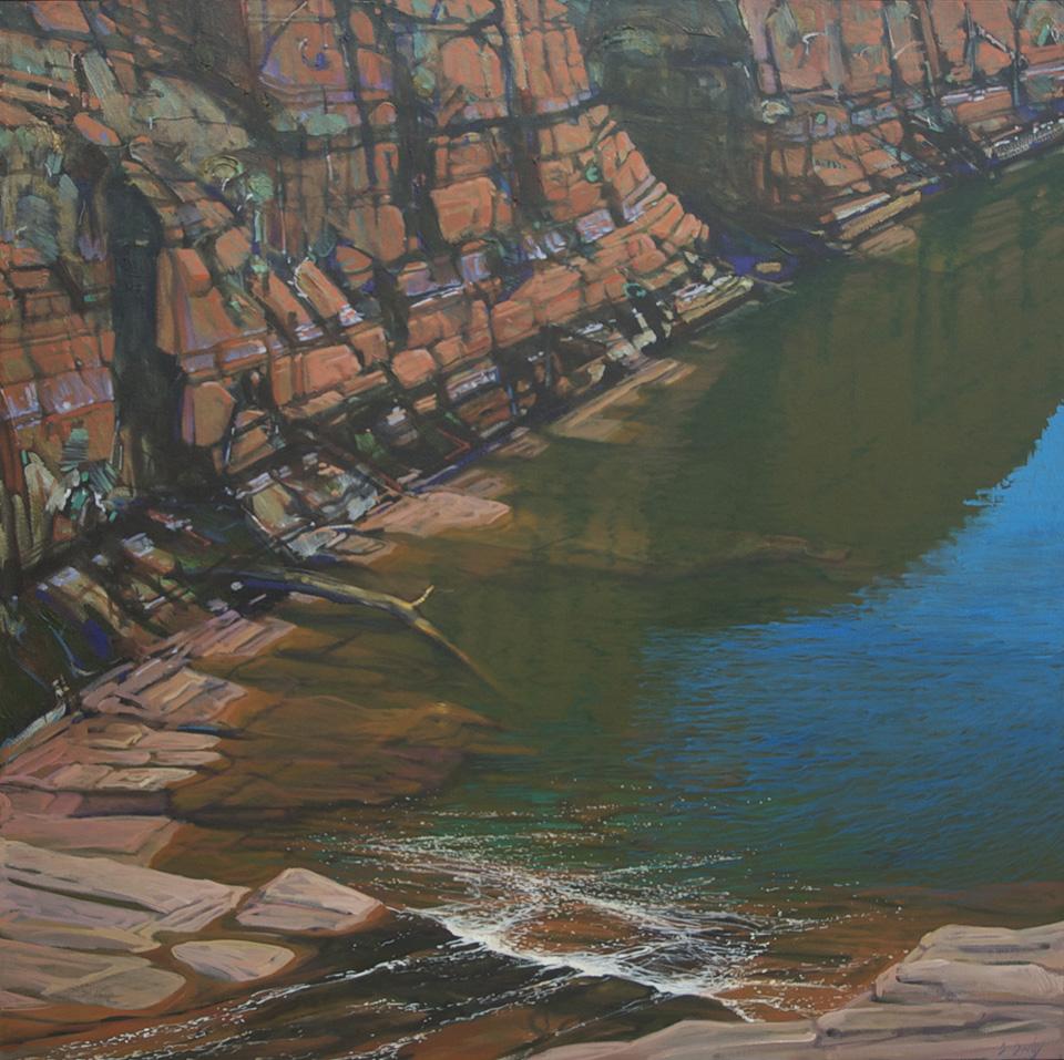 """Small Falls"" 121 x 121cm Oil on Acrylic on Canvas"