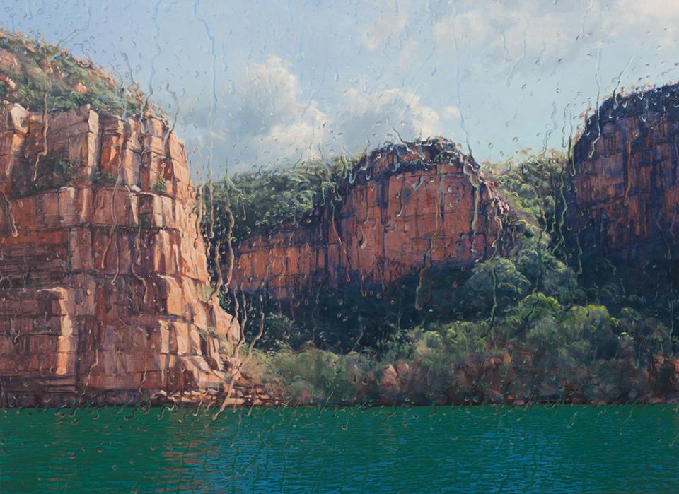 """""""Sun Shower"""" 110 x 150cm Oil on Acrylic on Canvas"""