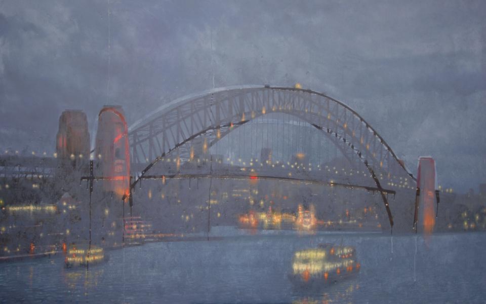 """""""Sydney Harbour Bridge"""" 130 x 210cm Oil on Acrylic on Canvas"""