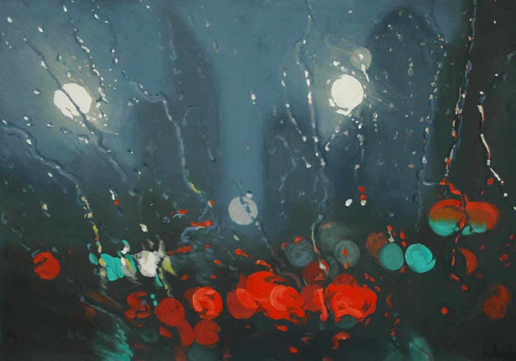 """""""Tail Lights"""" 47 x 67cm Oil on Paper"""