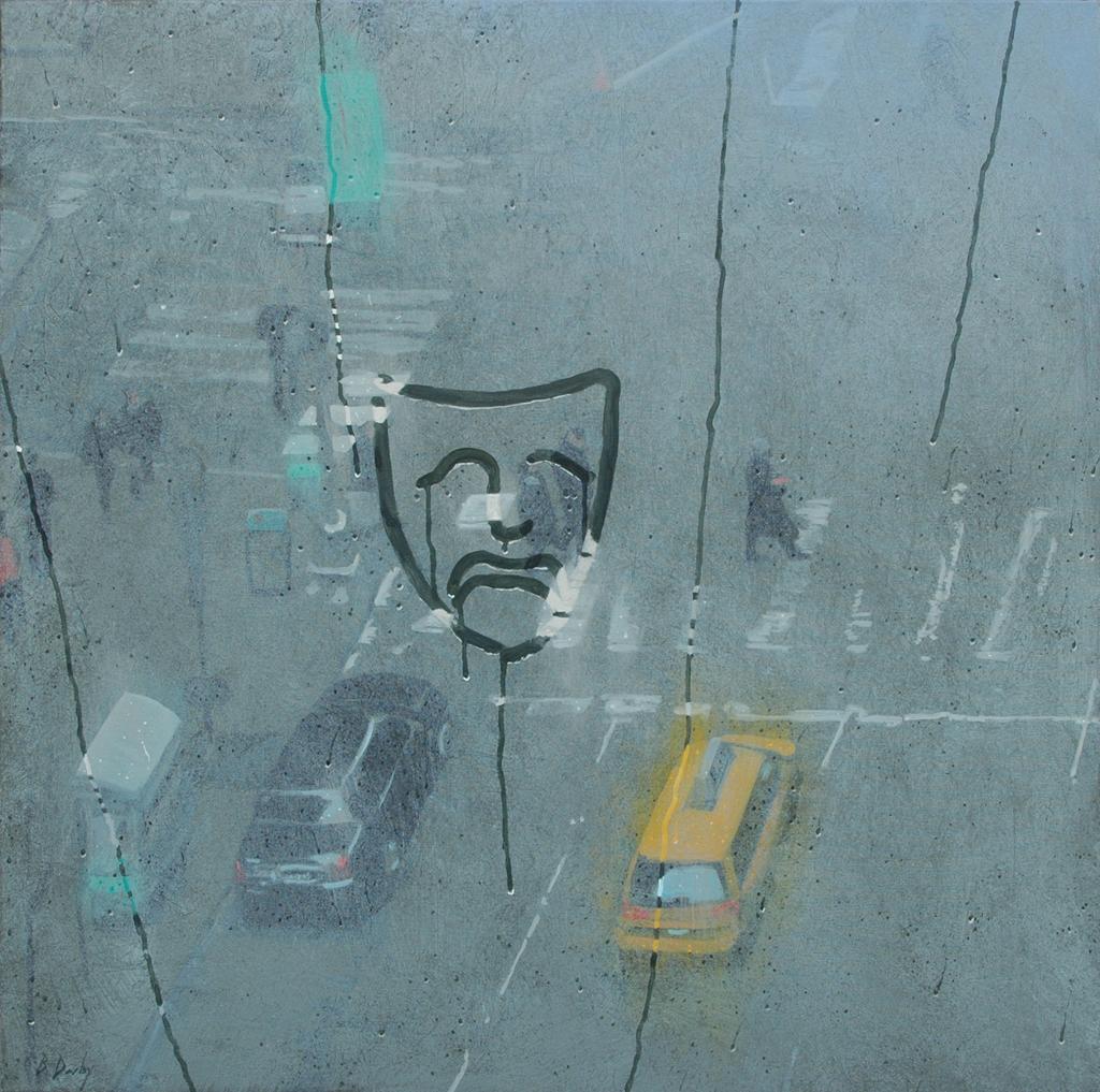 """Tragedy on Broadway"" 91 x 91cm Oil on Canvas"