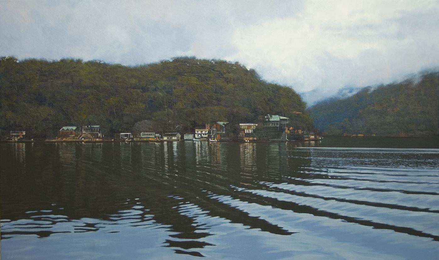 """Wake Lines"" 80 x 135cm Oil on Acrylic on Canvas"