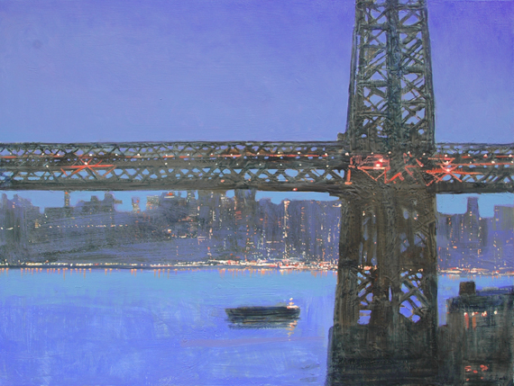 """""""Williamsburg Barge"""" 91 x 122cm Oil, Bitumen and Wax on Canvas"""
