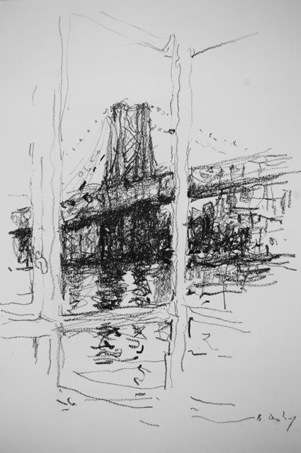 """Williamsburg Window"" 30 x 21cm Charcoal on Paper"