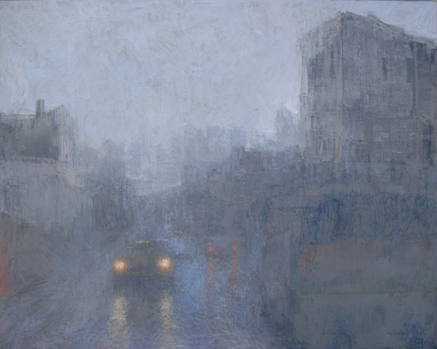 """""""Yellow Cab - Grey Day"""" 120 x 150cm Oil on Wax on Canvas"""