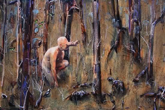 """Birding, Nannup"" (detail) Original 122 x 122cm Oil on Acrylic on Canvas"