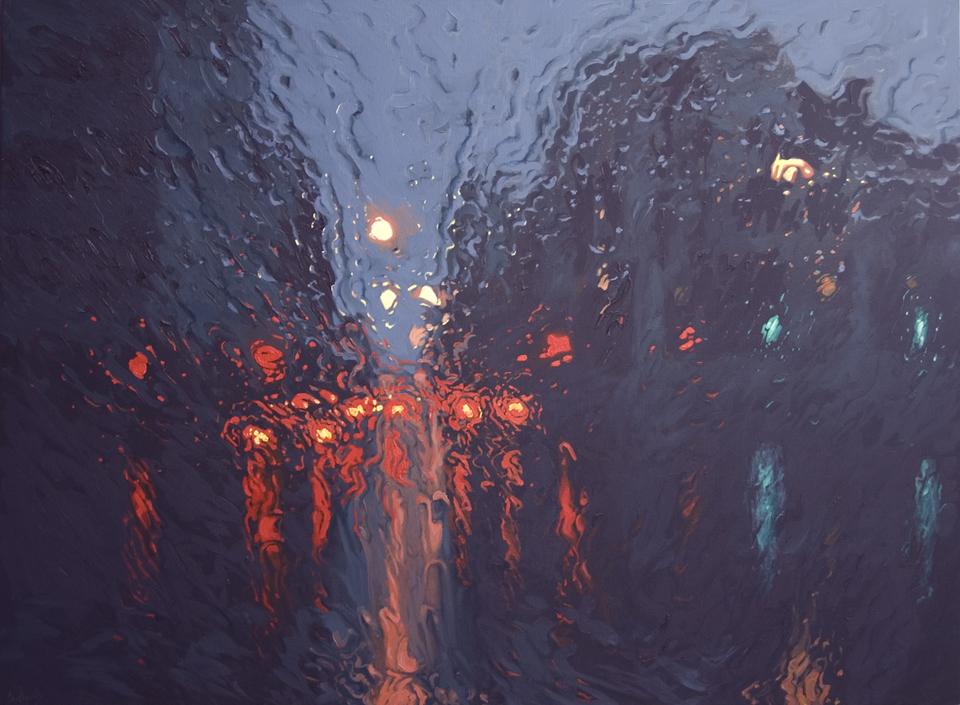 """""""Barrack Street Falls 2"""" 110 x 150cm Oil on Acrylic on Canvas"""