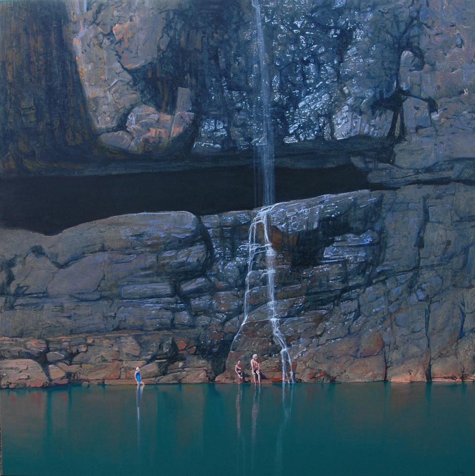 """""""Below Barramundi Falls"""" 150 x 150cm Oil on Acrylic on Canvas"""