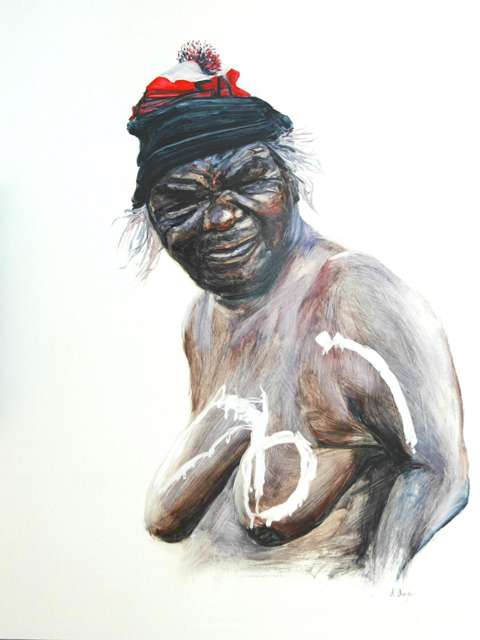 """""""Mrs B - Nyurapayia Nampitjinpa"""" 122 x 91cm Oil on Board"""