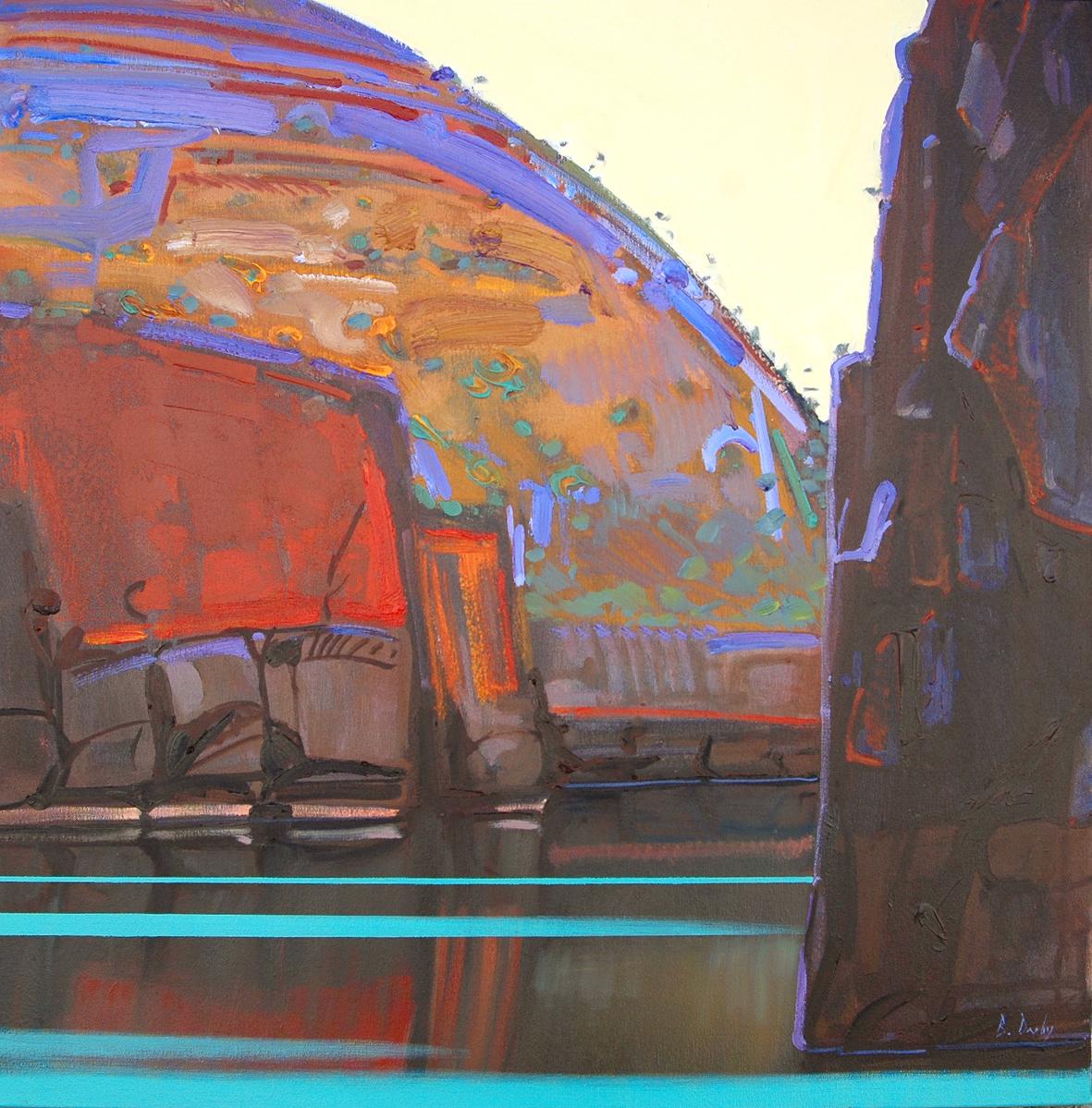 """""""A Red Island Dawn"""" 83 x 83cm Oil on Acrylic on Canvas"""