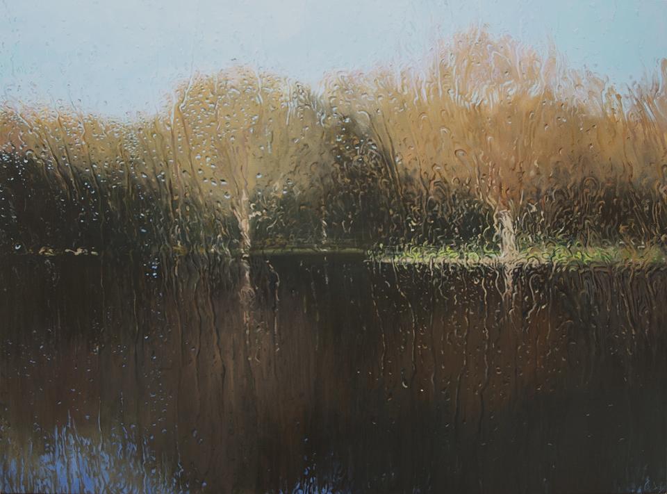 """Across the Lake - Hyde Park"" Oil on Canvas 110 x 150cm"