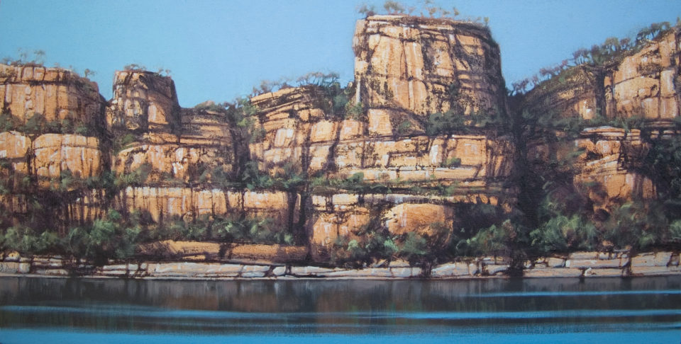 """""""Castle Rock"""" 46x92cm Oil on Acrylic on Canvas"""