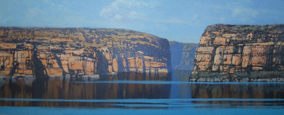 """Kimberley Windshift 1"" 48x122cm Oil on Acrylic on Board"
