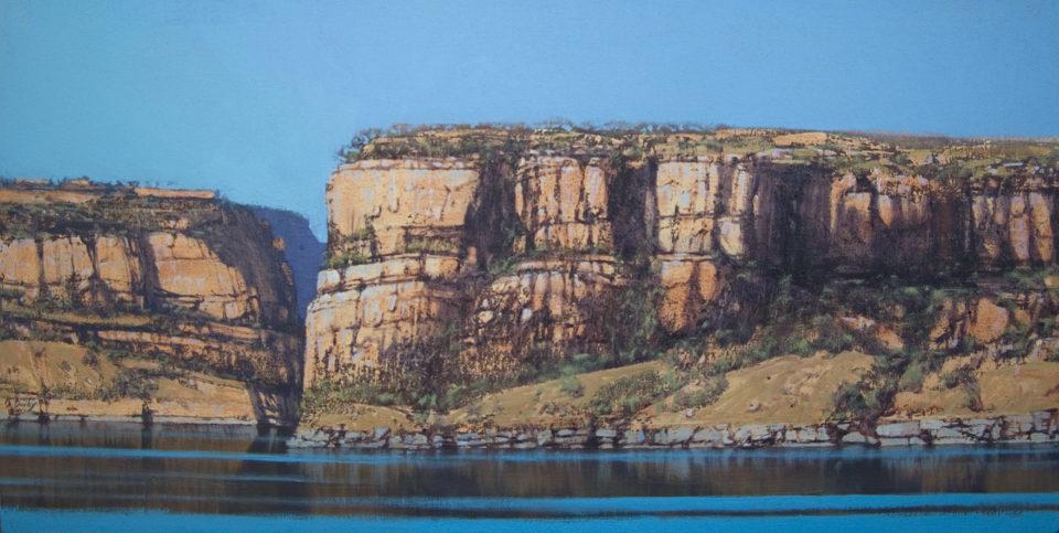 """""""River Headland"""" 46x92cm Oil on Acrylic on Canvas"""