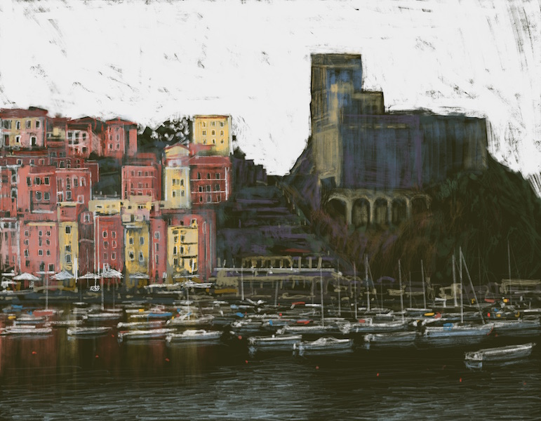 """Lerici, Liguria"" 56x72cm (Image size) printed on Paper 70x100cm Digital Print with Mixed Media"