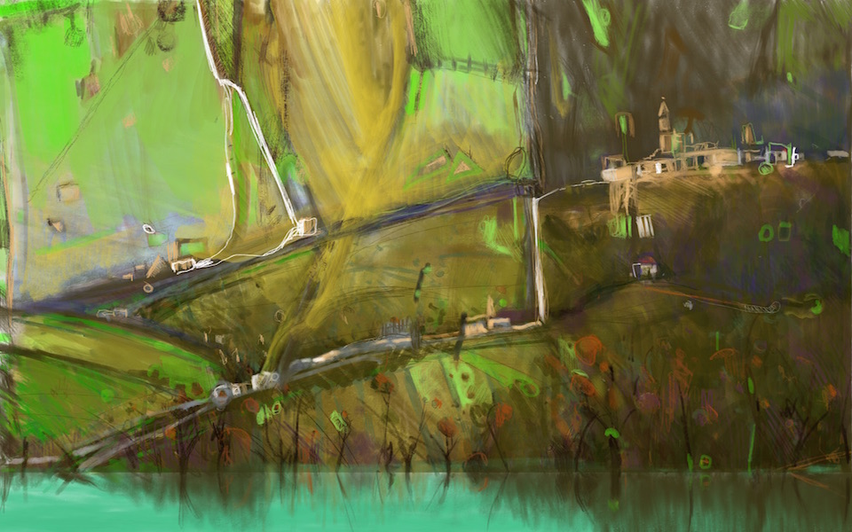 """""""Lake Trasimeno"""" 54x90cm (Image size) printed on Paper 70x100cm Digital Print with Mixed Media (Edition of 10)"""