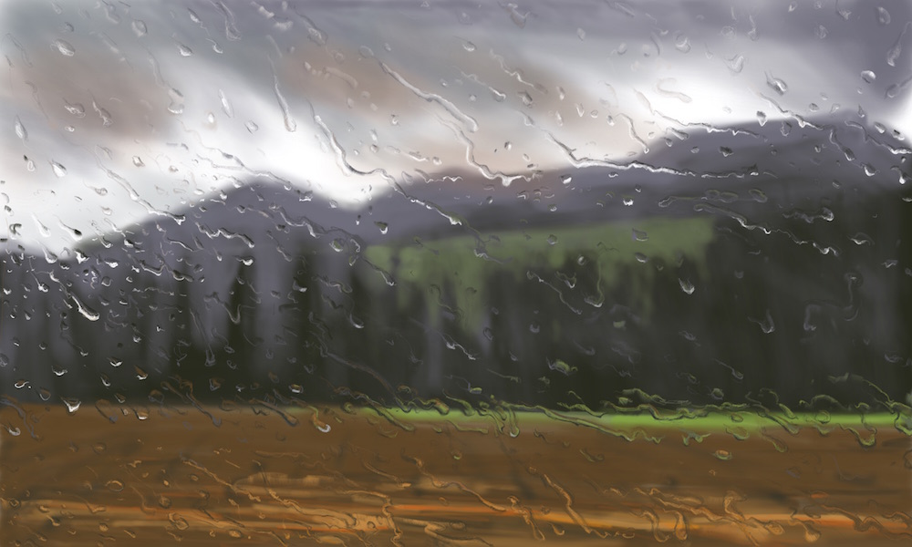 """""""Spring Rain, Umbria"""" 54x90cm (Image size) printed on Paper 70x100cm Digital Print with Mixed Media (Edition of 10)"""
