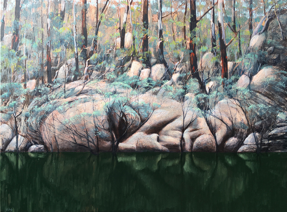 """Down by the River"" Oil on Acrylic on Canvas 90 x 130cm"