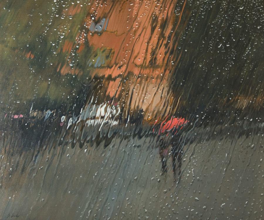 """""""Ombrello Rosso"""" Oil on Canvas 100 x 120cm"""