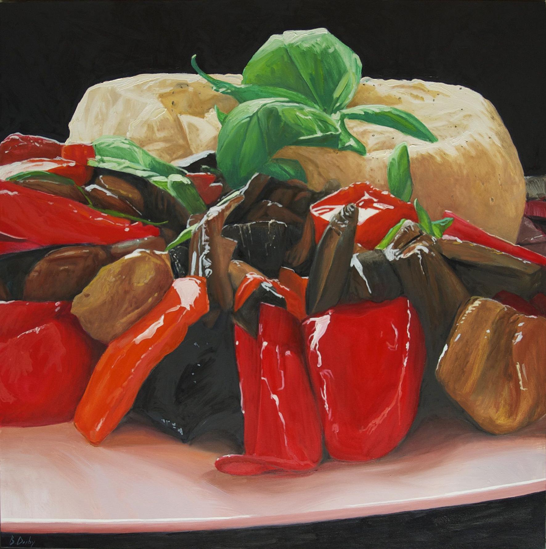 """""""Antonella's Caponata"""" Oil on Canvas 122 x 122cm"""