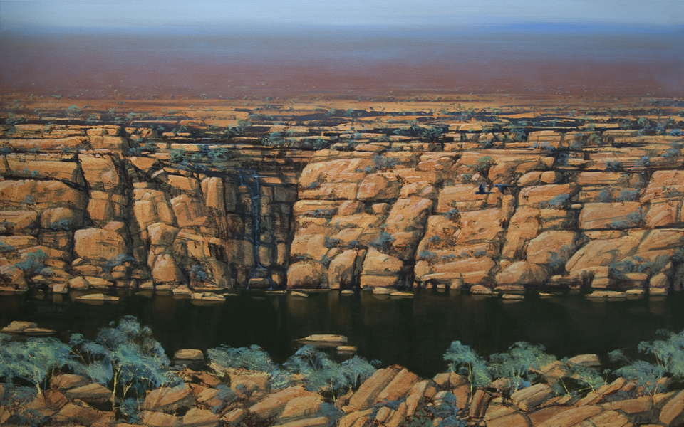 """Cockatoo Falls"" Oil on Acrylic on Canvas 110 x 150cm"