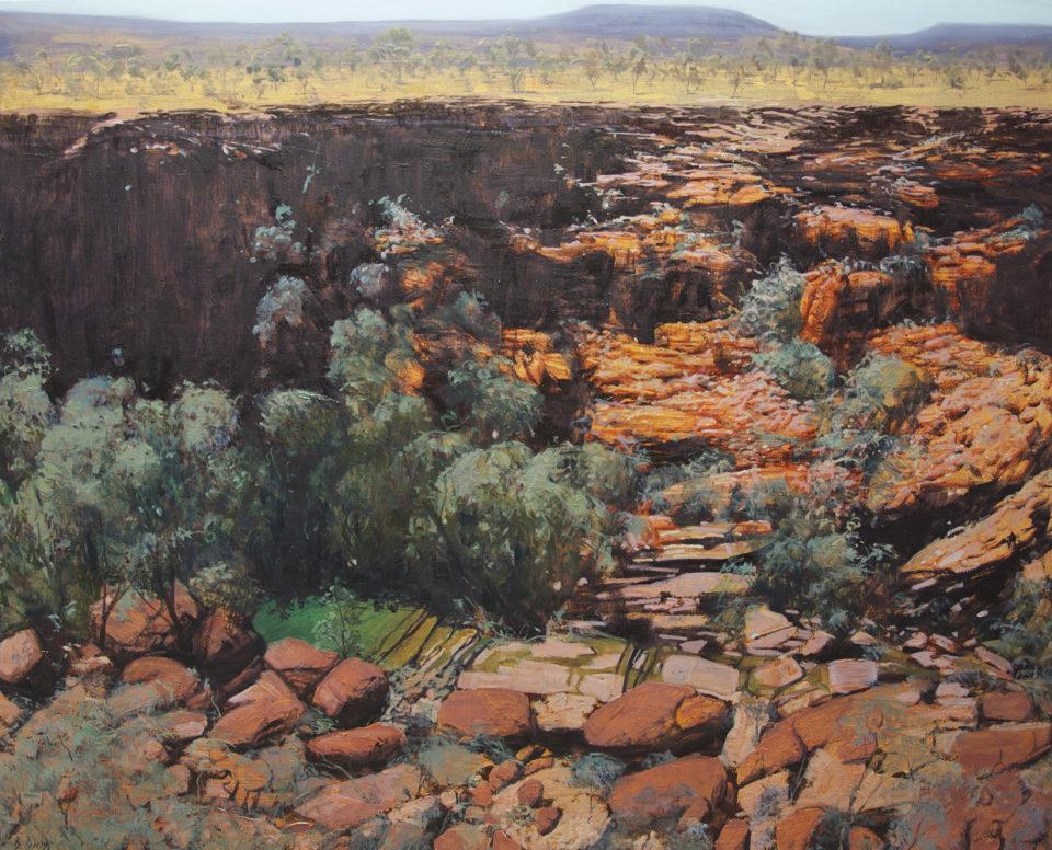 """Into the Gorge - Karijini"" Oil on Acrylic on Canvas 122 x 152cm"