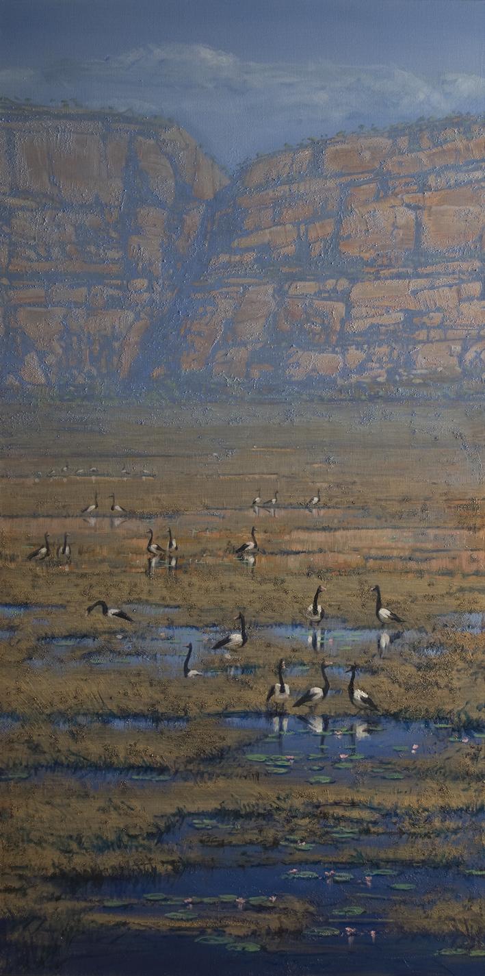 """""""Magpie Geese - Kakadu"""" Oil on Acrylic on Canvas 122 x 61cm"""