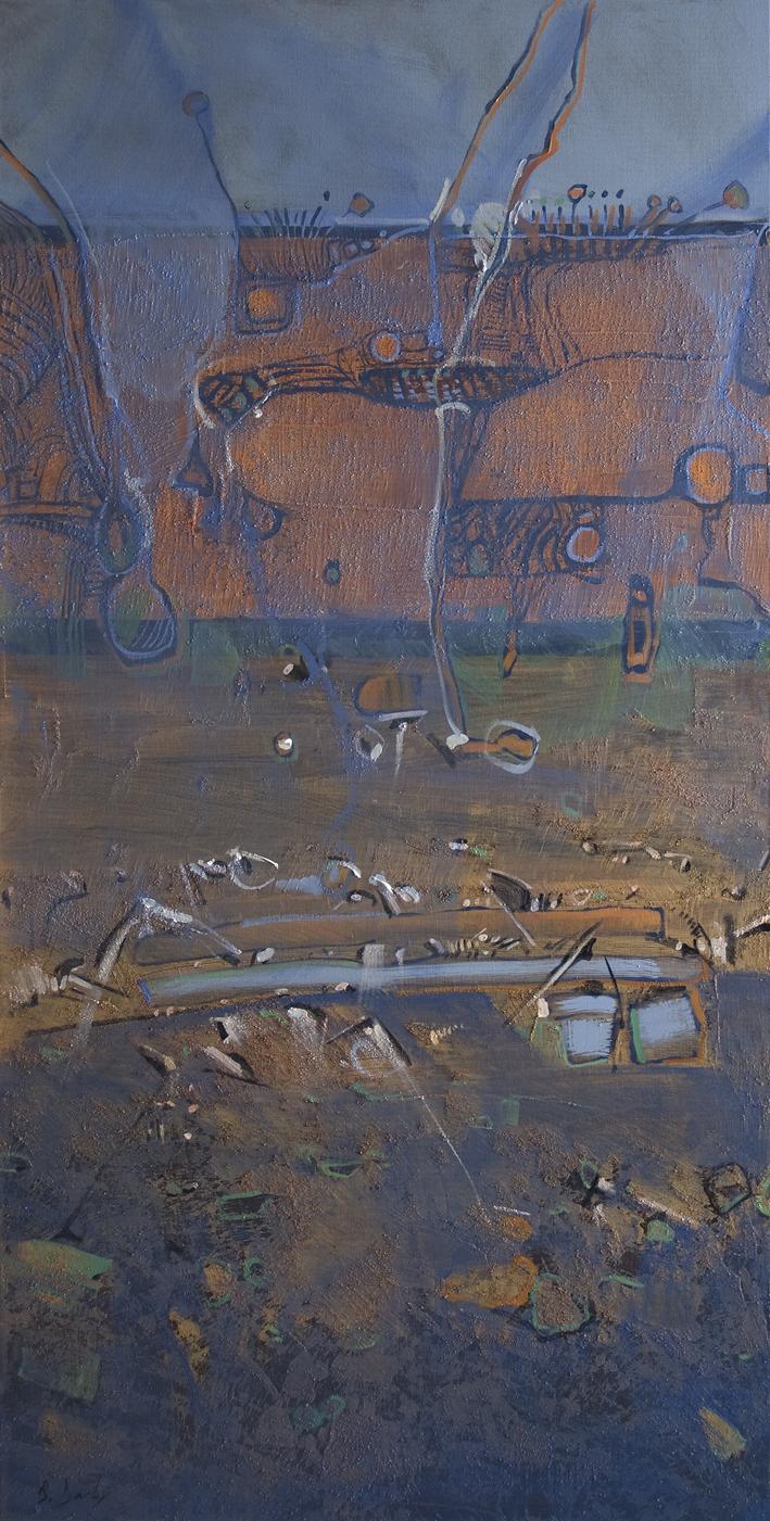 """""""Magpie Geese - Kakadu A"""" Oil on Acrylic on Canvas 122 x 61cm"""