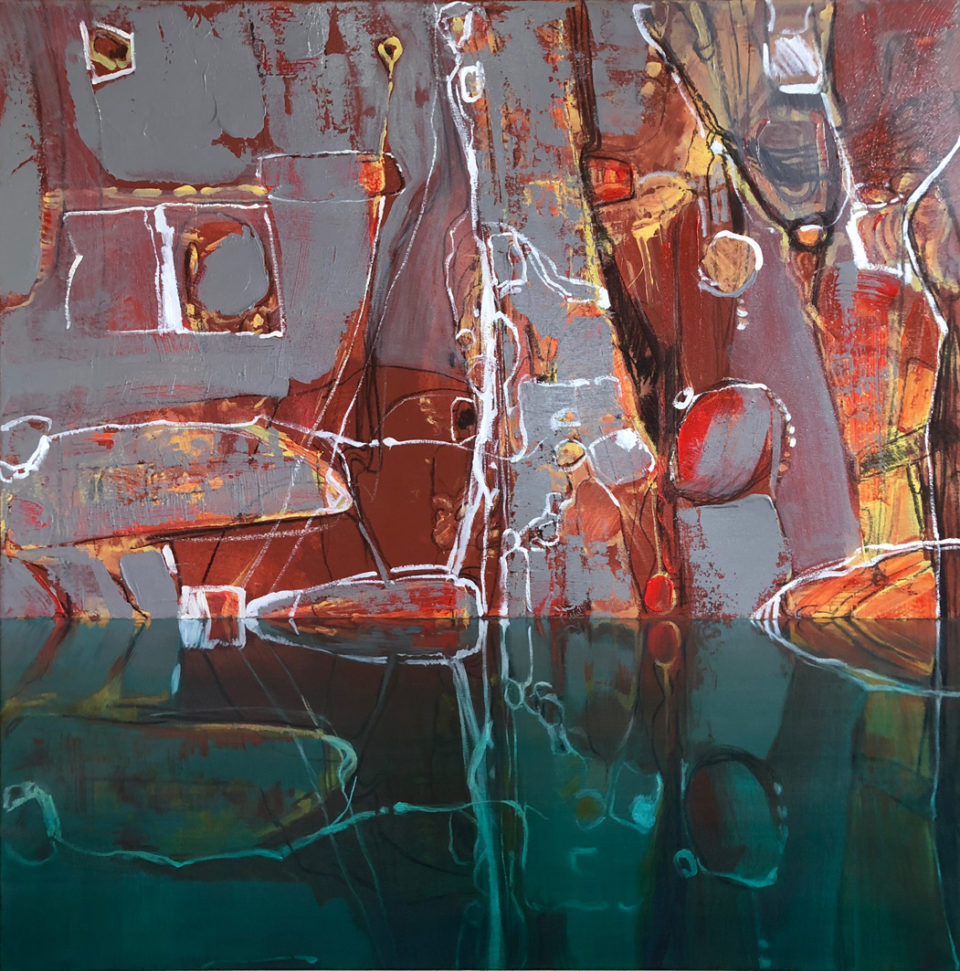 """""""Reflected Abstract 3"""" Oil on Acrylic on Canvas 110 x 110cm"""