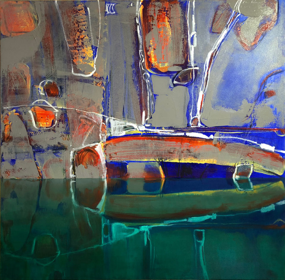 """""""Reflected Abstract 4"""" Oil on Acrylic on Canvas 110 x 110cm"""