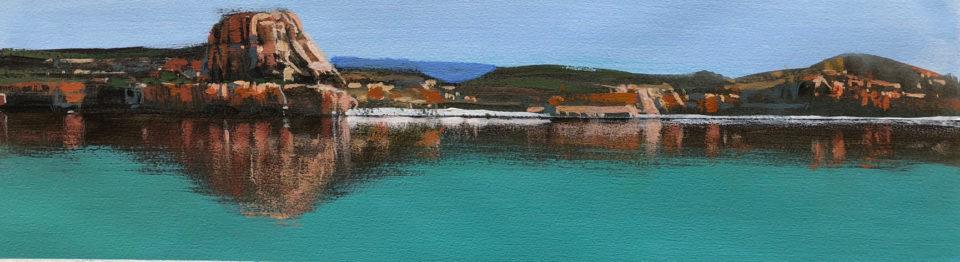 """Kimberley Beach - Study 1"" Mixed Media on Paper 13 x 46cm"