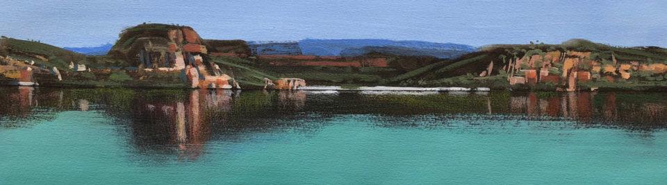 """Kimberley Beach - Study 2"" Mixed Media on Paper 13 x 46cm"