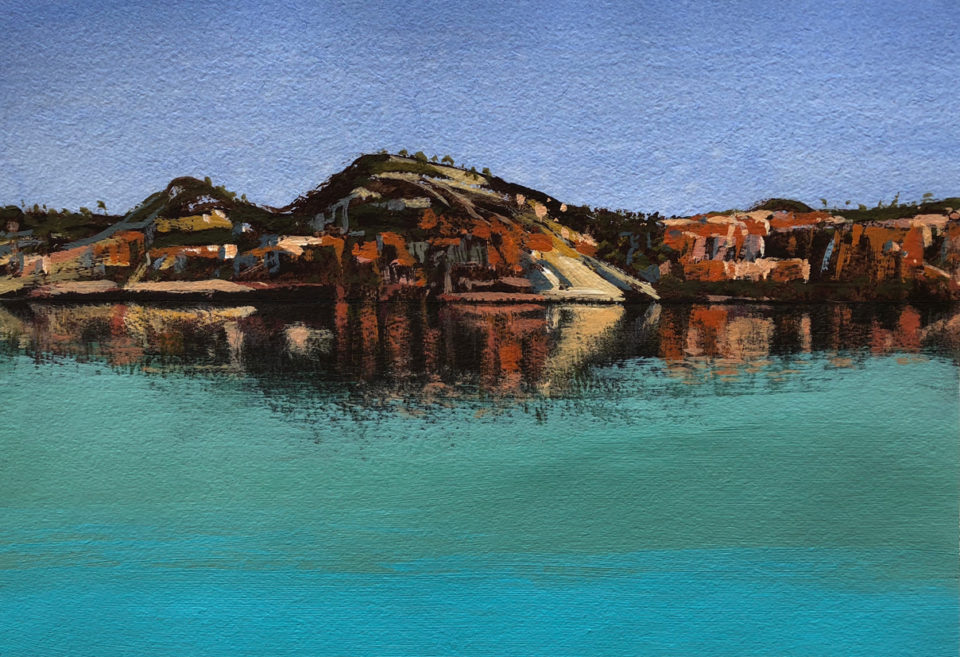 """""""To the Kimberley Beach"""" Mixed Media on Paper 23 x 33cm"""
