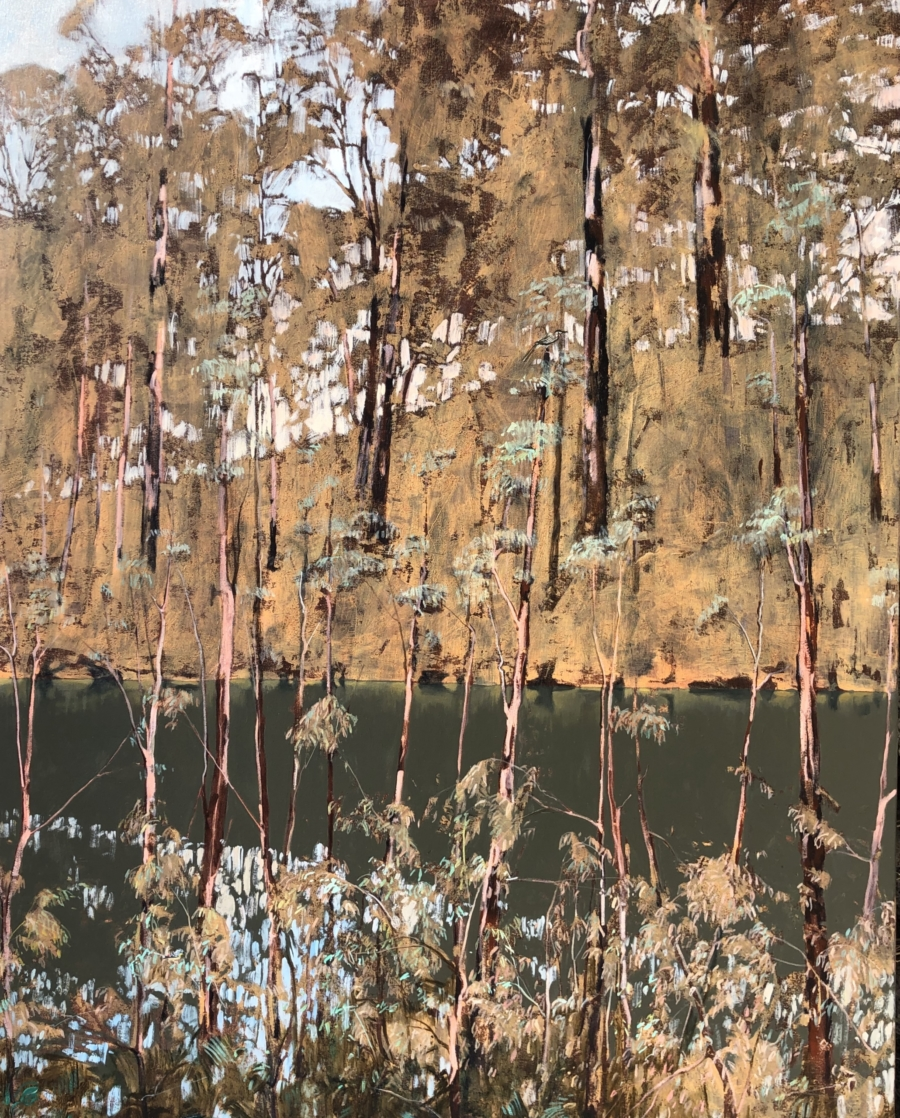 """Wattlebird and Pardalote"" Oil on Acrylic on Canvas 150 x 120cm"